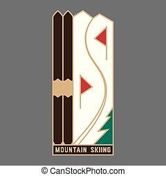 hegy, síelés, ikon