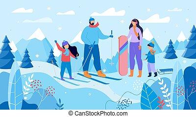 hegy, síelés, snowboarding, erőforrás, család
