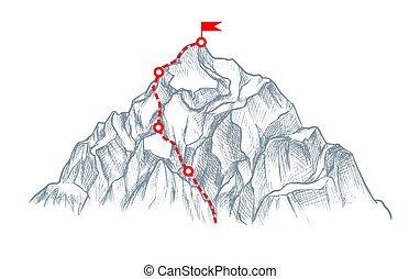 hegy, siker, misszió, vagy, jelkép, ügy