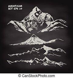 hegy, skicc, állhatatos, szüret, vektor, chalkboard