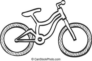 hegy, skicc, bicikli, -, ikon