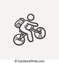 hegy, skicc, bicikli rider, ikon