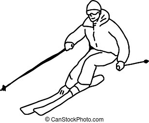 hegy, skicc, -, elszigetelt, ábra, kéz, megvonalaz, vektor, black háttér, húzott, fehér, síelő