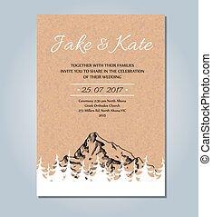 hegy, skicc, falusias, invitation., vektor, esküvő, template., kártya