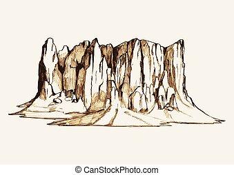 hegy, skicc, kő