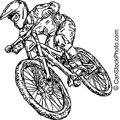 hegy, skicc, kerékpározás, -, elszigetelt, ábra, kéz, megvonalaz, vektor, black háttér, húzott, bicikli, fehér