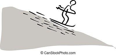 hegy, skicc, megvonalaz, elszigetelt, ábra, kéz, vektor, black háttér, síelés, húzott, fehér, csúszó, ember