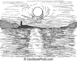 hegy, skicc, nap, felett, mód, ábra, kéz, vektor, napnyugta, sea., horizont, húzott, lighthouse.