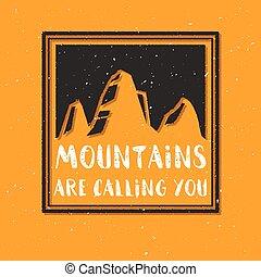 hegy, skicc, quote., ábra, hívás, vektor, texture.