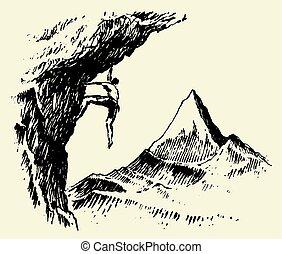hegy, skicc, vektor, csúcs, alpinista, húzott