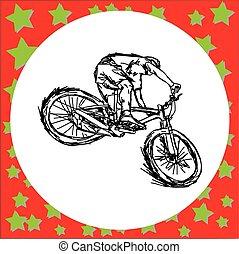 hegy, skicc, vektor, -, elszigetelt, ábra, kéz, megvonalaz, bicikli, black háttér, lovaglás, húzott, fehér, ember