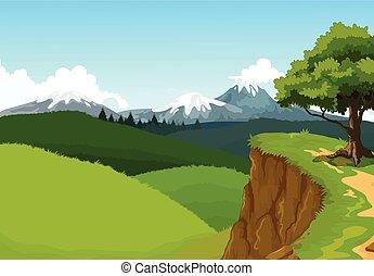 hegy, szépség, háttér, szirt