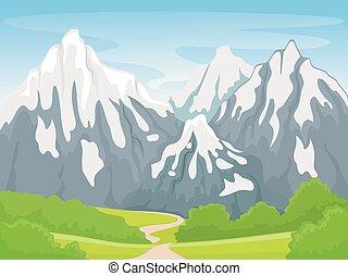 hegy, színhely, havas