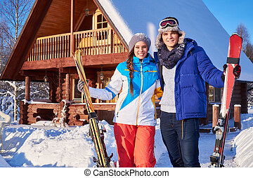 hegy, tél, párosít, ünnepek, jókedvű, villaház, költ