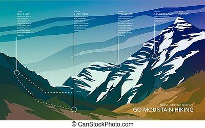 hegy, természetjárás, infographic., magas, nyom, park., nemzeti, táj