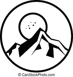 hegy, természetjárás, jelkép, aláír, ikon, kilátás