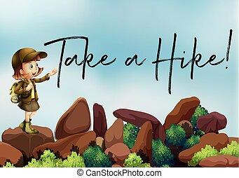 hegy, természetjárás, túrázik, feláll, fog, frázis, leány