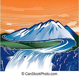 hegy, vízesés
