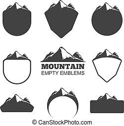 hegy, vektor, állhatatos, retro, jelvény