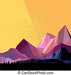 hegy, vektor, alacsony, poly