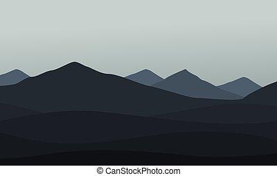 hegy, vektor, gyűjtés, táj