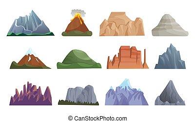 hegy, vulkán, jéghegy, kő, kibújik