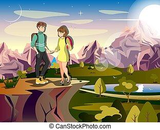 hegy, woman természetjárás, párosít, utazó, ember