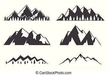 hegyek, állhatatos, ikonok, elszigetelt, háttér., fehér