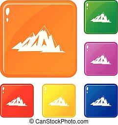 hegyek, állhatatos, kanadai, szín, ikonok, vektor