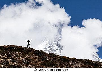 hegyek, árnykép, természetjárás, ember