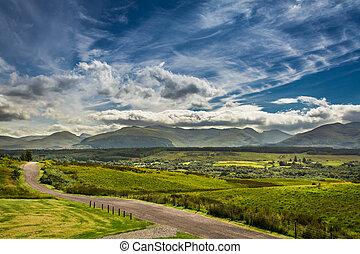 hegyek, út, skócia, ólmozás