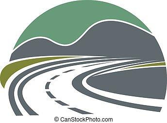 hegyek, út, vagy, autóút, eltűnik
