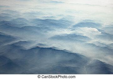 hegyek, carpathian, tél, felül