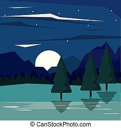 hegyek, colorful csillogó, hold, nightly, háttér, völgy, táj