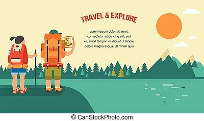 hegyek, dombok, backpackers, szüret, erdő, vektor, háttér