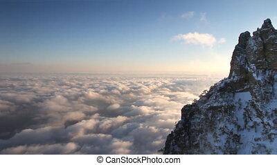 hegyek, elhomályosul, napnyugta