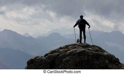 hegyek, elhomályosul, utazó