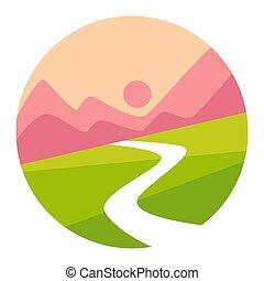hegyek, elszigetelt, napnyugta, völgy, közös személyazonosság, ikon