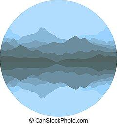 hegyek, elvont, köd