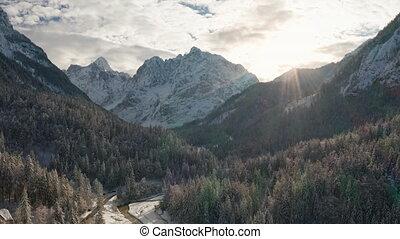 hegyek, erdő, antenna, havas, lövés