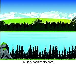 hegyek, erdő, táj, udvar, nagy