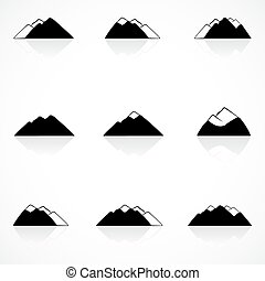 hegyek, fekete, ikonok