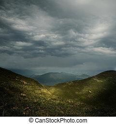 hegyek, felett, elhomályosul, megrohamoz