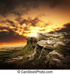 hegyek, felett, napnyugta