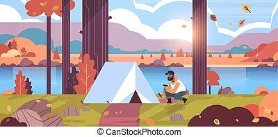 hegyek, fogalom, kempingezés, természetjárás, lakás, folyó, természet, kempingező, beiktató, ősz, kiránduló, hosszúság, tele, napkelte, háttér, afrikai, horizontális, ember, előkészítő, táj, sátor