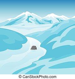 hegyek, folyó, tél