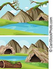hegyek, folyók, két, háttér, színek