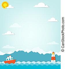 hegyek, hajó, háttér