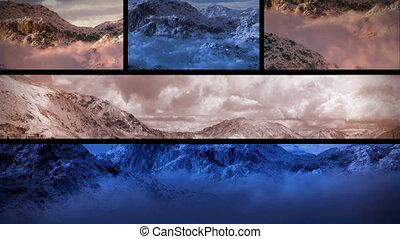 hegyek, havas, (1130), napnyugta, zenemű, bukfenc