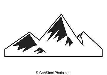 hegyek, havas, ikon